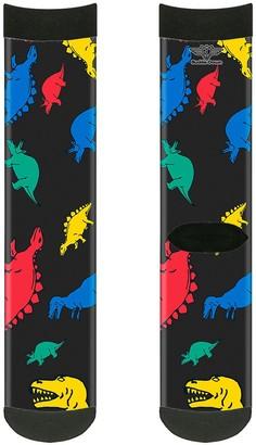 Buckle-Down unisex-adult's Socks Dinosaurs Black/Multi Color Crew