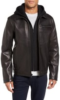 Vince Camuto Men's Leather Jacket With Removable Hooded Bib