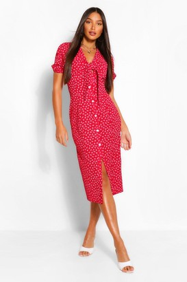 boohoo Tall Woven Ditsy Floral Print Knot Front Midi Dress