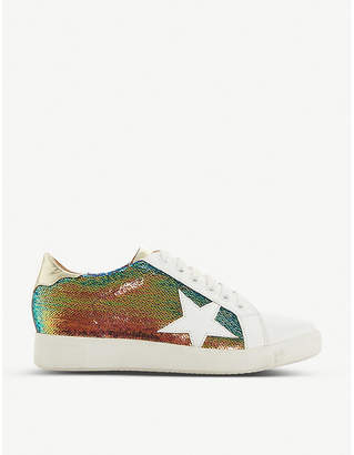 Dune Edris S sequinned leather trainers