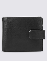 M&S Collection Leather Saffiano Bi Fold Coin Wallet with CardsafeTM