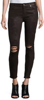 7 For All Mankind The Ankle Skinny Coated Jeans, Plum Destroyed