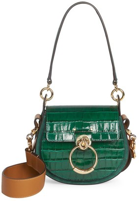 Chloé Tess Croc-Embossed Leather Saddle Bag