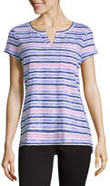 Liz Claiborne Short Sleeve Split Crew Neck Floral T-Shirt-Womens