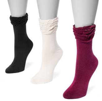 Muk Luks Women's 3-pk. Ruffled Roll-Top Socks