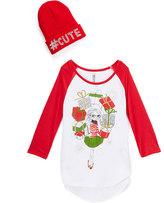 Beautees Red & White '#Cute' Raglan Tee & Beanie - Girls