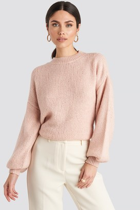 NA-KD Crew Neck Volume Sleeve Knitted Sweater Beige