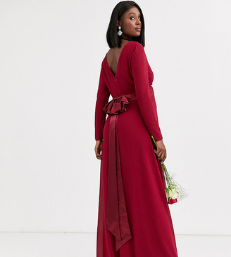 TFNC Maternity Bridesmaid long sleeve maxi dress with bow back in mulberry
