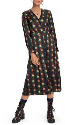 Scotch & Soda Floral Print Long Sleeve Midi Dress