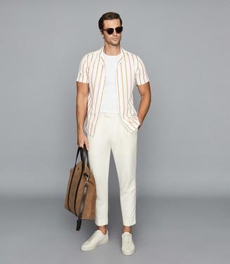 Reiss Zest - Striped Cuban Collar Shirt in White