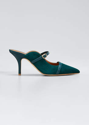 Malone Souliers Melody Suede Pointed-Toe Mules
