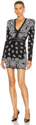 Balmain Short V-Neck Jacquard Dress in Noir & Blanc | FWRD