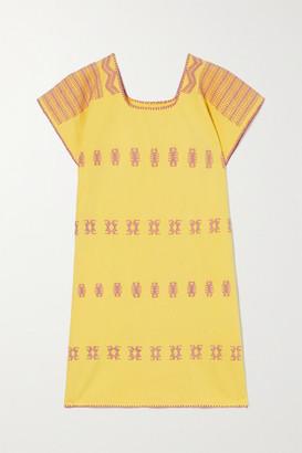 Pippa Embroidered Cotton Kaftan - Yellow