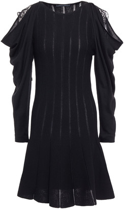 Alberta Ferretti Lace-trimmed Ribbed Wool Mini Dress