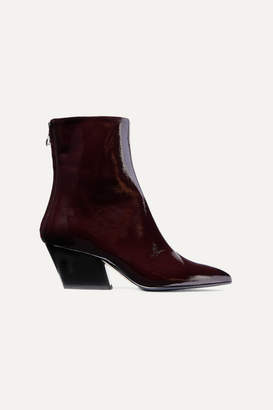 Dahlia Aeyde aeyde Crinkled Patent-leather Ankle Boots - Burgundy