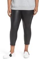 Sejour Plus Size Women's Faux Leather Front Crop Leggings