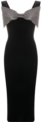 Christopher Kane Bow-Detail Stretch-Velvet Midi-Dress