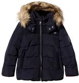 Ikks Navy Puffer Coat with Faux Fur Hood
