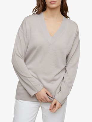 Jigsaw Slouchy V Neck Merino Wool Jumper, Grey