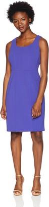 Kasper Women's Petite Sleeveless Square Neck Drapey Crepe Dress