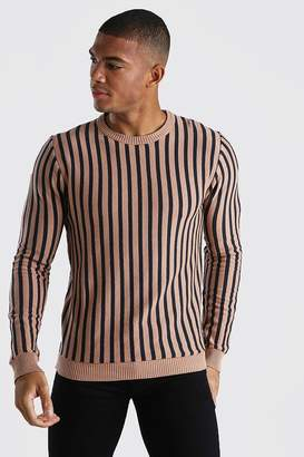 boohoo Vertical Stripe Crew Neck Jumper