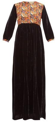 Muzungu Sisters - Touba Floral-print Satin And Velvet Dress - Womens - Black Multi