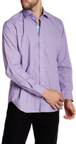 Tailorbyrd Solid Purple Long Sleeve Checkered Woven Shirt