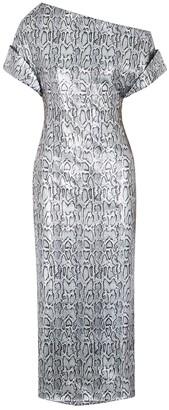 Christopher Kane Snake-print sequin midi dress