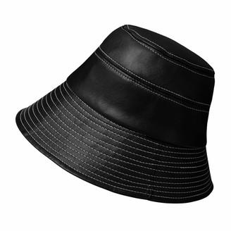 Ebeyuki Women's Rain Hats Waterproof Lightweight Leather Black Bucket Style Hat Cap Wide Brim Bucket Hat Rain Cap - black - M