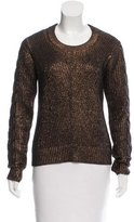 Pink Tartan Metallic-Accented Wool Sweater