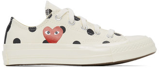 Comme des Garcons White Converse Edition Polka Dot Heart Chuck 70 Low Sneakers