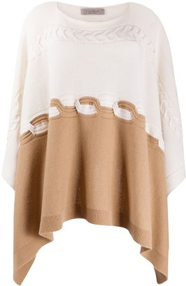 D-Exterior Two-Tone Cable Knit Poncho
