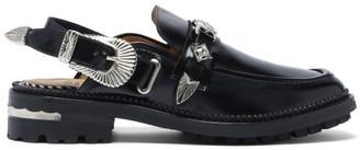 Toga Western-buckle Slingback Leather Loafers - Black