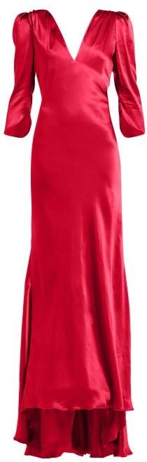 Maria Lucia Hohan Derya Gathered Shoulder Silk Satin Maxi Dress - Womens - Red