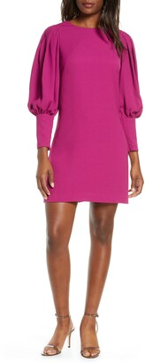 Eliza J Balloon Sleeve Crepe Shift Dress