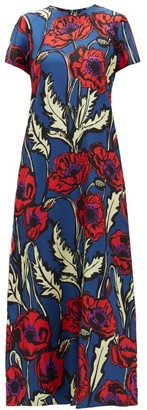 La DoubleJ Swing Big Blooms Silk Crepe De Chine Dress - Blue Print