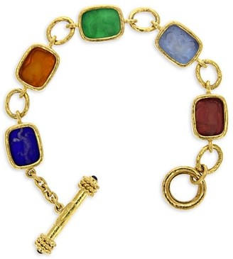 Elizabeth Locke Venetian Glass Intaglio 19K Yellow Gold Jewel-Tone Antique Animals Medium Toggle Bracelet