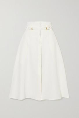 Le Kasha Gizeh Belted Linen Midi Skirt - White