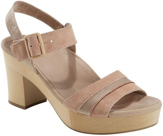 Earth Leather Platform Sandals - Oak Chestnut
