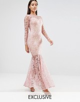 Club L Embroided High Neck Fishtail Maxi Dress