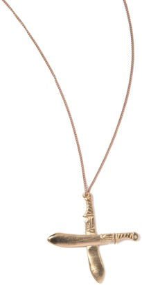 Arizaga Mens Red Gold Plated Machete Necklace of Length 63.5 cm