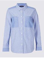 M&S Collection Pure Cotton Striped Long Sleeve Shirt