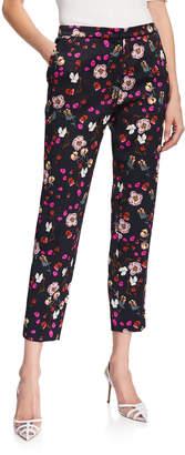 Escada Talaranto Floral Jacquard Pants, Black