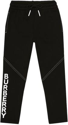 BURBERRY KIDS Logo cotton jersey trackpants