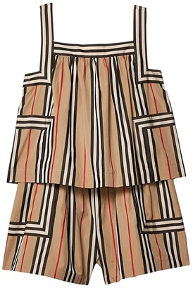 BURBERRY KIDS Florence Jumpsuit (Little Kids/Big Kids) (Archive Beige IP Stripe) Girl's Jumpsuit & Rompers One Piece