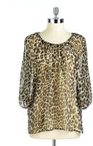 Lord & Taylor Leopard Print Peasant Top