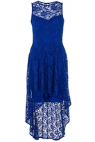 Quiz Royal Blue Glitter Lace Dip Hem Dress