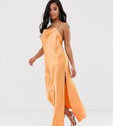 Asos DESIGN Petite cami maxi slip dress in high shine satin with strappy back