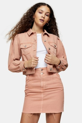 Topshop CONSIDERED Apricot Denim Puff Sleeve Slim Fit Jacket
