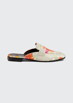 Bougeotte Watercolor Python-Print Penny Loafer Mules